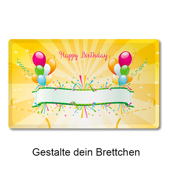 """Happy Birthday yellow"" Brettchen"